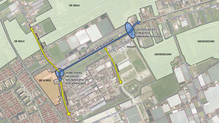 Kaart met projectgebied Katwijkerlaan tussen kruispunt Vlielandseweg-Nieuwkoopseweg en S-bocht bij de Reesloot